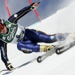 Rienda of Spain clears a gate in the season's last women's giant slalom Alpine Skiing World Cup race in Lenzerheide
